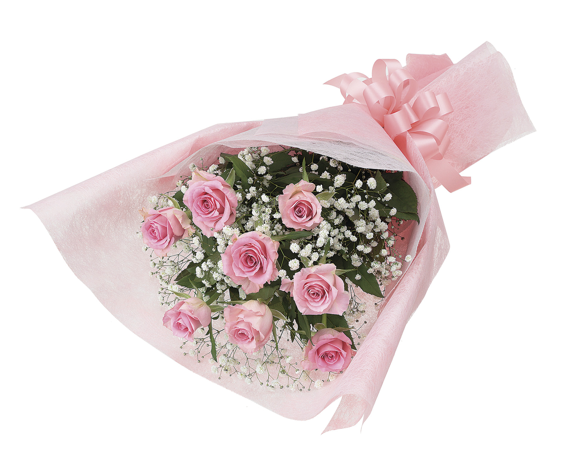 バラとカスミ草の花束